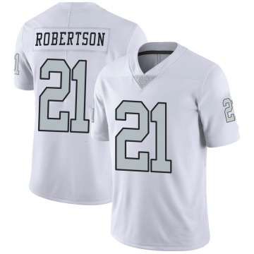 Youth Nike Las Vegas Raiders Amik Robertson White Color Rush Jersey - Limited