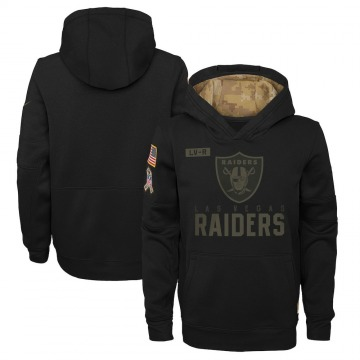 Youth Nike Las Vegas Raiders Black 2020 Salute to Service Pullover Performance Hoodie -