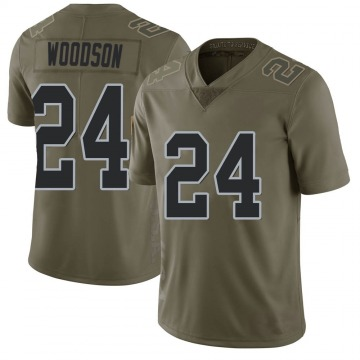 Youth Nike Las Vegas Raiders Charles Woodson Green 2017 Salute to Service Jersey - Limited