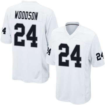 Youth Nike Las Vegas Raiders Charles Woodson White Jersey - Game