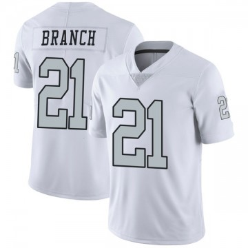 Youth Nike Las Vegas Raiders Cliff Branch White Color Rush Jersey - Limited