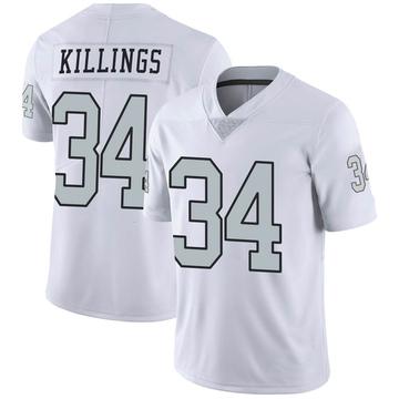 Youth Nike Las Vegas Raiders D.J. Killings White Color Rush Jersey - Limited