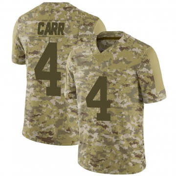 Youth Nike Las Vegas Raiders Derek Carr Camo 2018 Salute to Service Jersey - Limited