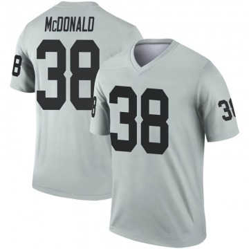 Youth Nike Las Vegas Raiders Dexter McDonald Inverted Silver Jersey - Legend