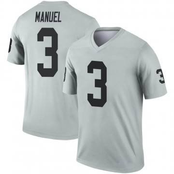Youth Nike Las Vegas Raiders EJ Manuel Inverted Silver Jersey - Legend