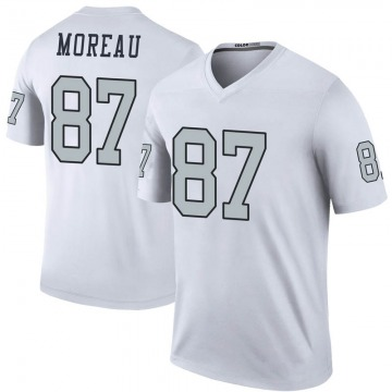 Youth Nike Las Vegas Raiders Foster Moreau White Color Rush Jersey - Legend