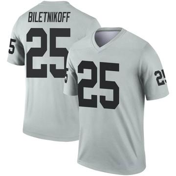 Youth Nike Las Vegas Raiders Fred Biletnikoff Inverted Silver Jersey - Legend