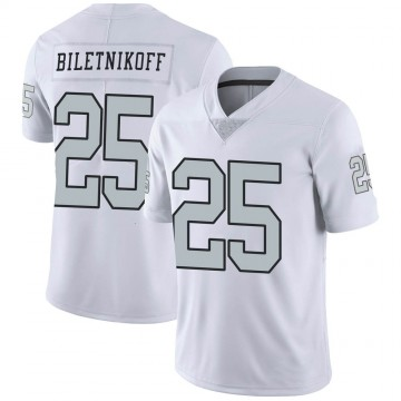 Youth Nike Las Vegas Raiders Fred Biletnikoff White Color Rush Jersey - Limited