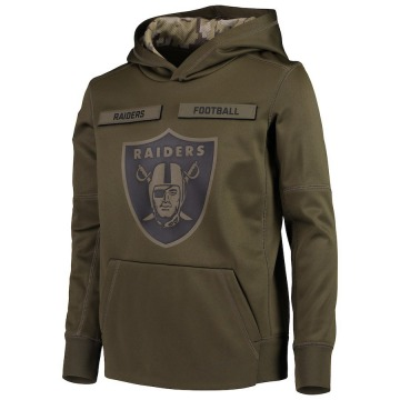 Youth Nike Las Vegas Raiders Green 2018 Salute to Service Pullover Performance Hoodie -