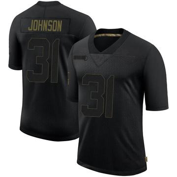Youth Nike Las Vegas Raiders Isaiah Johnson Black 2020 Salute To Service Jersey - Limited