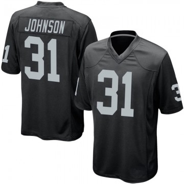 Youth Nike Las Vegas Raiders Isaiah Johnson Black Team Color Jersey - Game
