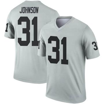 Youth Nike Las Vegas Raiders Isaiah Johnson Inverted Silver Jersey - Legend