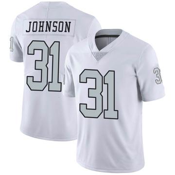 Youth Nike Las Vegas Raiders Isaiah Johnson White Color Rush Jersey - Limited