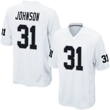 Youth Nike Las Vegas Raiders Isaiah Johnson White Jersey - Game
