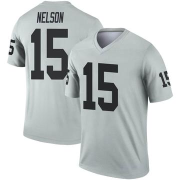 Youth Nike Las Vegas Raiders J.J. Nelson Inverted Silver Jersey - Legend