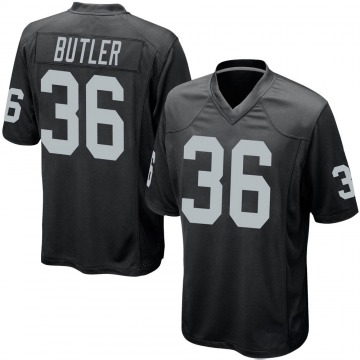Youth Nike Las Vegas Raiders James Butler Black Team Color Jersey - Game