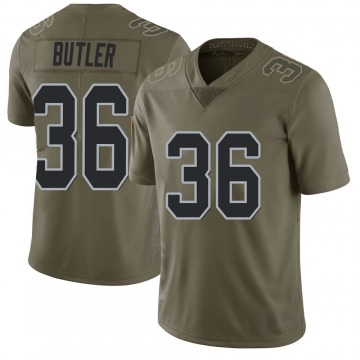Youth Nike Las Vegas Raiders James Butler Green 2017 Salute to Service Jersey - Limited