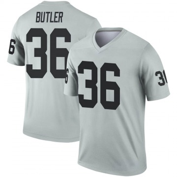 Youth Nike Las Vegas Raiders James Butler Inverted Silver Jersey - Legend