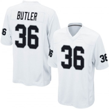 Youth Nike Las Vegas Raiders James Butler White Jersey - Game