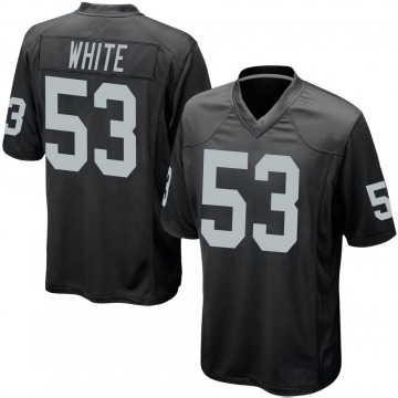 Youth Nike Las Vegas Raiders Javin White White Black Team Color Jersey - Game