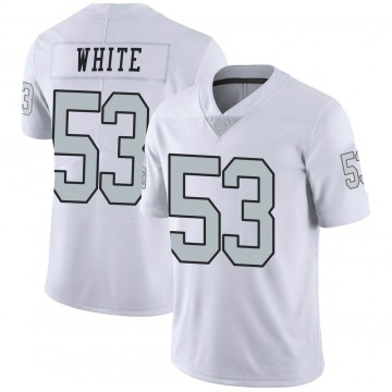Youth Nike Las Vegas Raiders Javin White White Color Rush Jersey - Limited