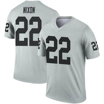 Youth Nike Las Vegas Raiders Keisean Nixon Inverted Silver Jersey - Legend