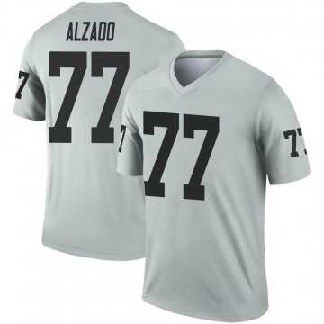 Youth Nike Las Vegas Raiders Lyle Alzado Inverted Silver Jersey - Legend