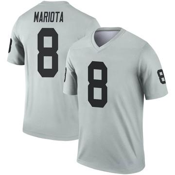 Youth Nike Las Vegas Raiders Marcus Mariota Inverted Silver Jersey - Legend