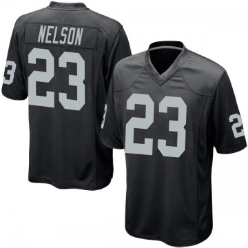 Youth Nike Las Vegas Raiders Nick Nelson Black Team Color Jersey - Game