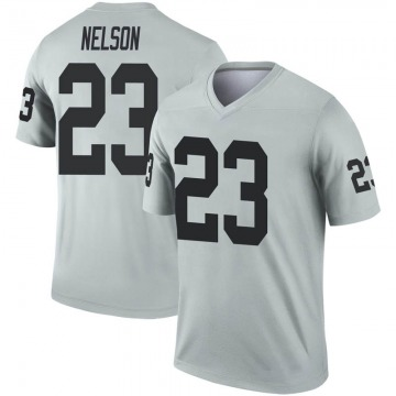 Youth Nike Las Vegas Raiders Nick Nelson Inverted Silver Jersey - Legend