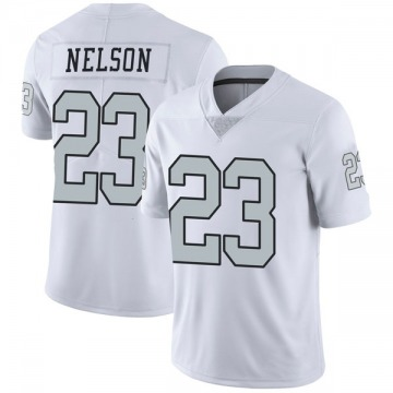Youth Nike Las Vegas Raiders Nick Nelson White Color Rush Jersey - Limited