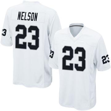 Youth Nike Las Vegas Raiders Nick Nelson White Jersey - Game