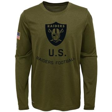 Youth Nike Las Vegas Raiders Olive 2018 Salute to Service Performance Long Sleeve T-Shirt - Legend