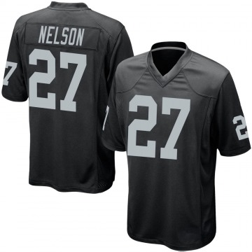 Youth Nike Las Vegas Raiders Reggie Nelson Black Team Color Jersey - Game
