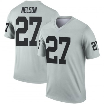 Youth Nike Las Vegas Raiders Reggie Nelson Inverted Silver Jersey - Legend