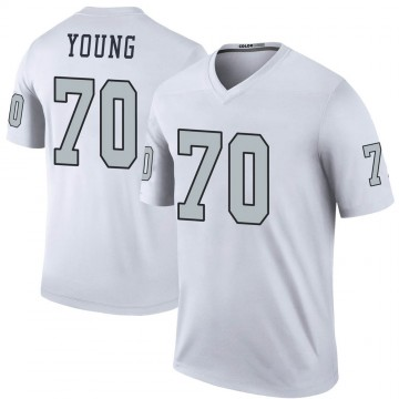 Youth Nike Las Vegas Raiders Sam Young White Color Rush Jersey - Legend