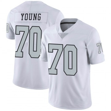 Youth Nike Las Vegas Raiders Sam Young White Color Rush Jersey - Limited