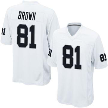 Youth Nike Las Vegas Raiders Tim Brown White Jersey - Game