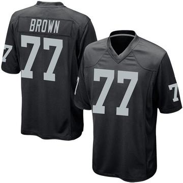 Youth Nike Las Vegas Raiders Trent Brown Black Team Color Jersey - Game
