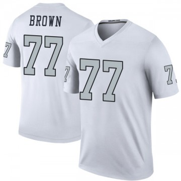 Youth Nike Las Vegas Raiders Trent Brown White Color Rush Jersey - Legend
