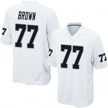 Youth Nike Las Vegas Raiders Trent Brown White Jersey - Game