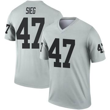 Youth Nike Las Vegas Raiders Trent Sieg Inverted Silver Jersey - Legend